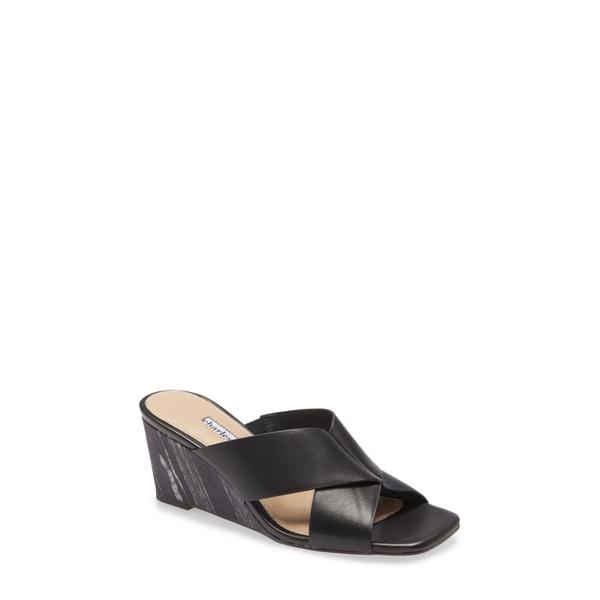 チャールズ・デイビッド レディース サンダル シューズ Testify Wedge Slide Sandal Black Leather