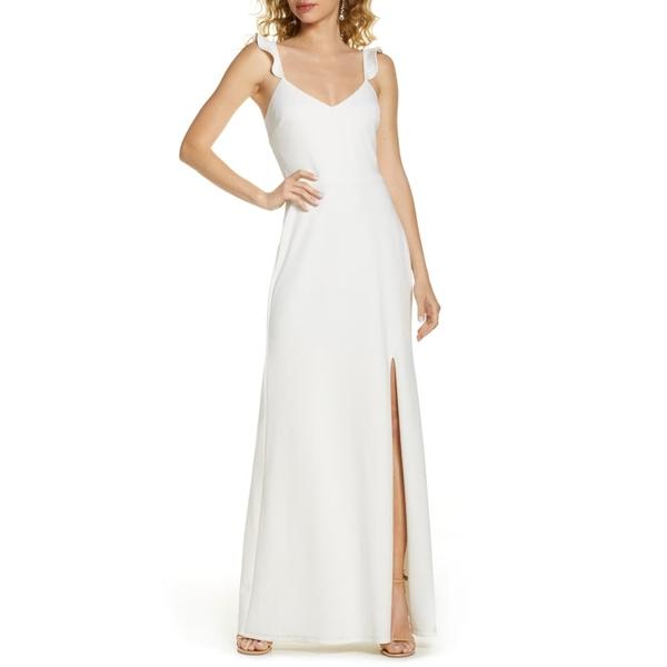 ワイフ レディース ワンピース トップス The Mina Ruffle Strap Gown Ivory
