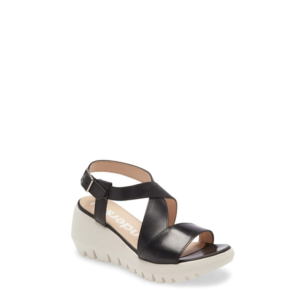 ワンダーズ レディース サンダル シューズ D-9005 Sandal Black Leather