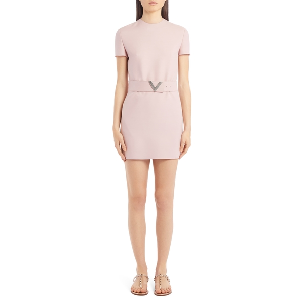 ヴァレンティノ レディース ワンピース トップス VLOGO Belted Wool & Silk Minidress Soft Pink