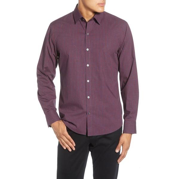 ザッカリープレル メンズ シャツ トップス Vengerko Regular Fit Plaid Button-Up Sport Shirt Burgundy
