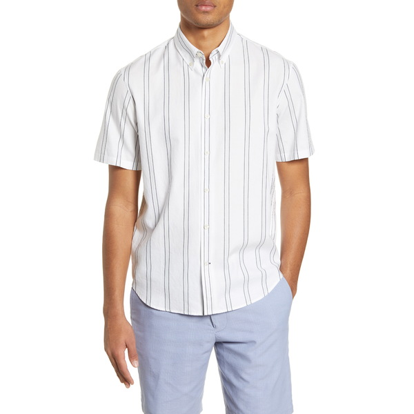 クラブ モナコ メンズ シャツ トップス Slim Fit Deck Stripe Short Sleeve Button-Down Shirt White/Blue