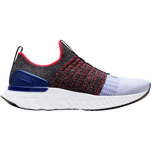 ナイキ メンズ ランニング スポーツ Nike Men's React Phantom Run Flyknit 2 Running Shoes Black/White/RacerBlue