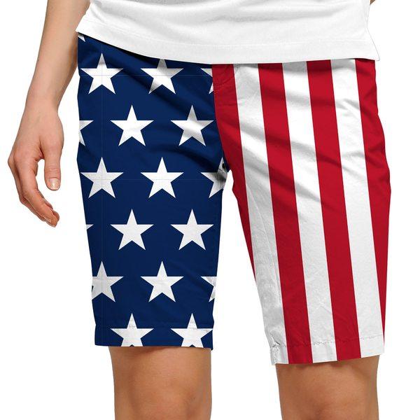 ラウドマウス ゴルフ レディース カジュアルパンツ ボトムス Loudmouth Women's Stars & Stripes Bermuda Golf Shorts Blue