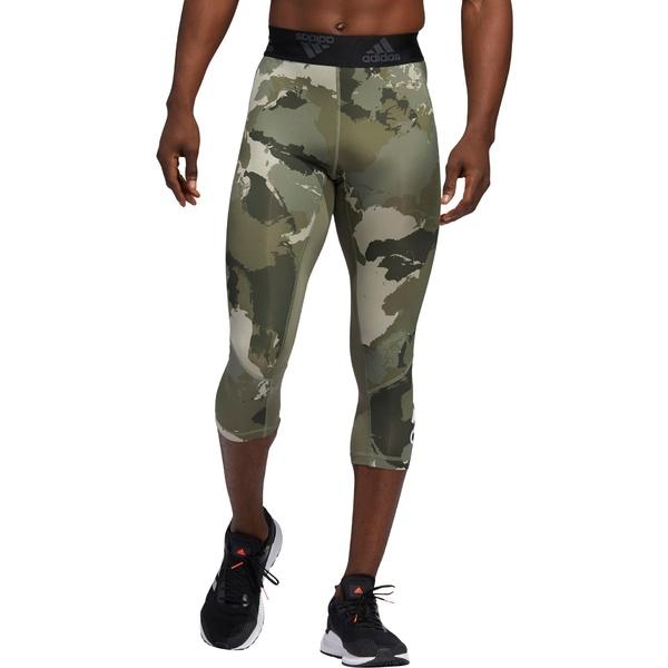 アディダス メンズ カジュアルパンツ ボトムス adidas Men's Alphaskin Camo 3/4 Tights Grey
