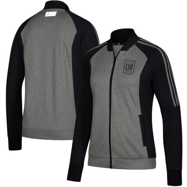 アディダス レディース ジャケット&ブルゾン アウター LAFC adidas Women's Anthem FullZip Jacket Black/Heathered Black