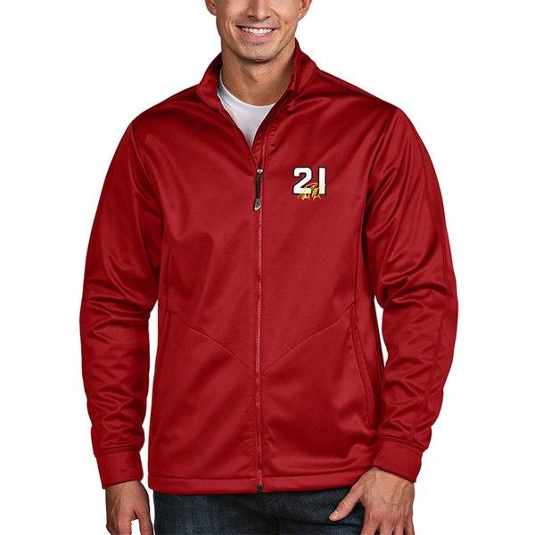 アンティグア メンズ ジャケット&ブルゾン アウター Paul Menard Antigua Golf FullZip Jacket Red