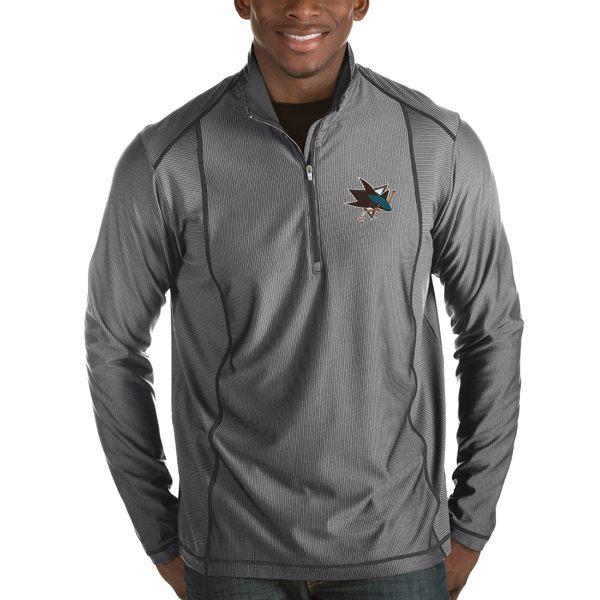 アンティグア メンズ ジャケット&ブルゾン アウター San Jose Sharks Antigua Tempo Desert Dry HalfZip Pullover Jacket Black