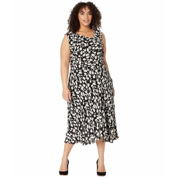 アドリアナ パペル レディース ワンピース トップス Plus Size Draped Pebble Crepe A-Line Dress Black/Ivory