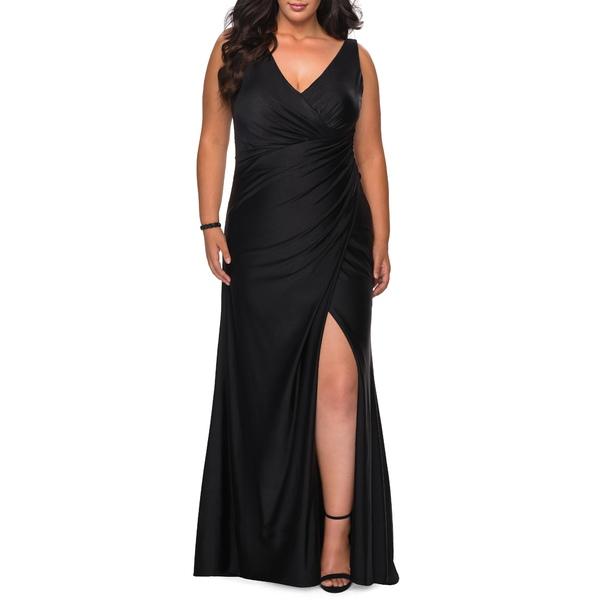 ラフェム レディース ワンピース トップス Ruched Jersey Trumpet Gown Black