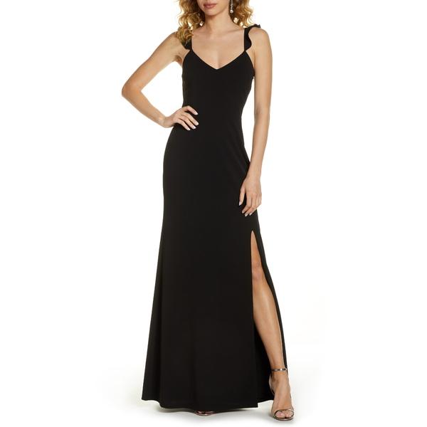 ワイフ レディース ワンピース トップス The Mina Ruffle Strap Gown Black