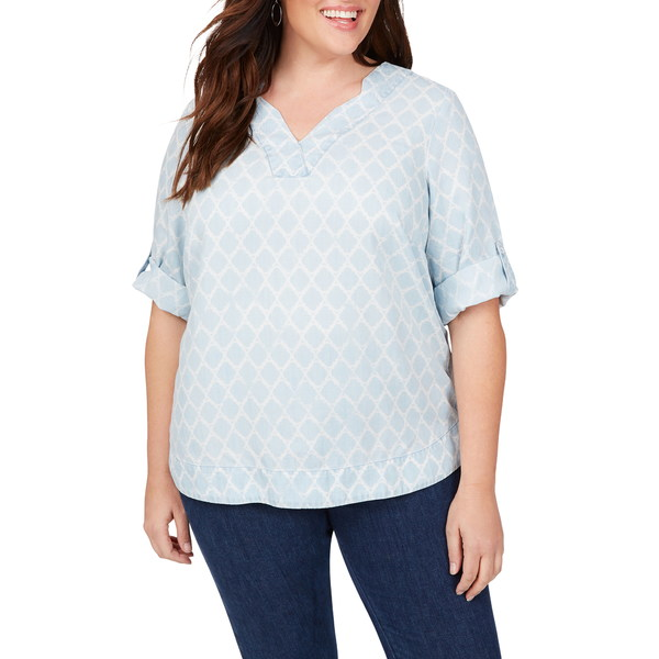 フォックスクラフト レディース シャツ トップス Harmony in Distressed Quatrefoils Shirt Blue Wash