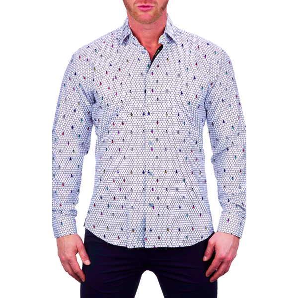 マセオ メンズ シャツ トップス Fibonacci Colored Bee Button-Up Shirt Black Multi