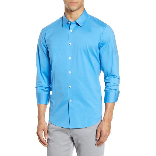 ブガッチ メンズ シャツ トップス Knit Button-Up Shirt Classic Blue