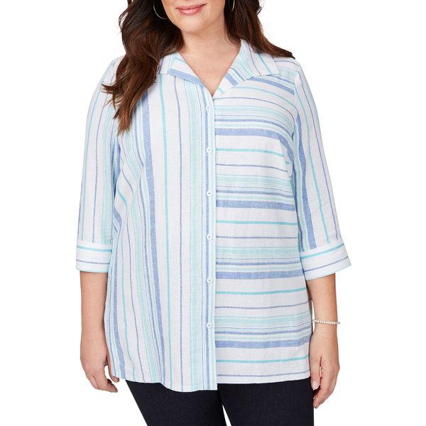 フォックスクラフト レディース シャツ トップス Santino Bahama Dobby Stripe Button Detail Shirt Multi
