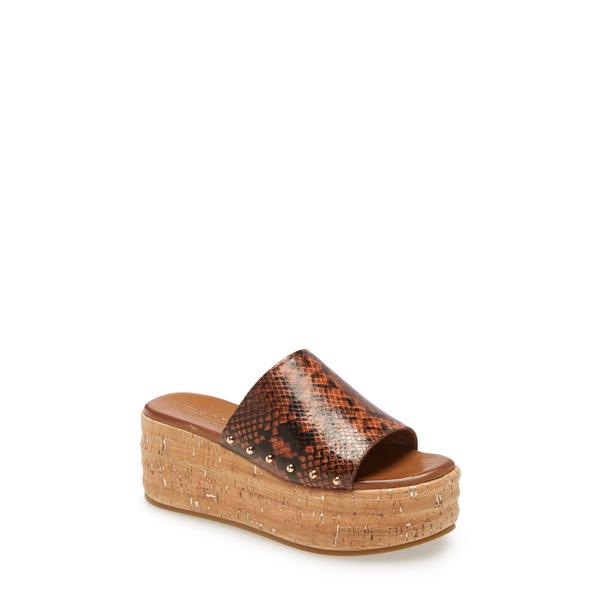 カートジェイガーロンドン レディース サンダル シューズ Monica Studded Platform Sandal Dark Brown Snake Print