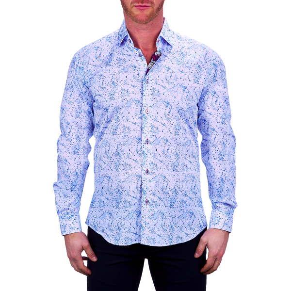 マセオ メンズ シャツ トップス Fibonacci Water Splash Button-Up Shirt White