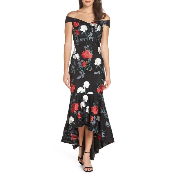 チチロンドン レディース ワンピース トップス Off the Shoulder Embroidered Fishtail Gown Black