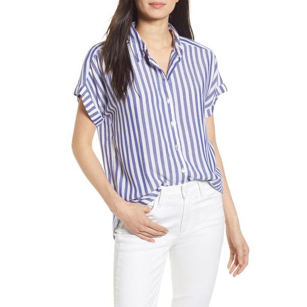 ファエティ レディース シャツ トップス Avery Stripe Button Front Shirt Blue/ White Stripe
