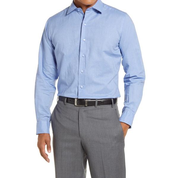 デイビッドドナヒュー メンズ シャツ トップス Trim Fit Linen Blend Dress Shirt Blue