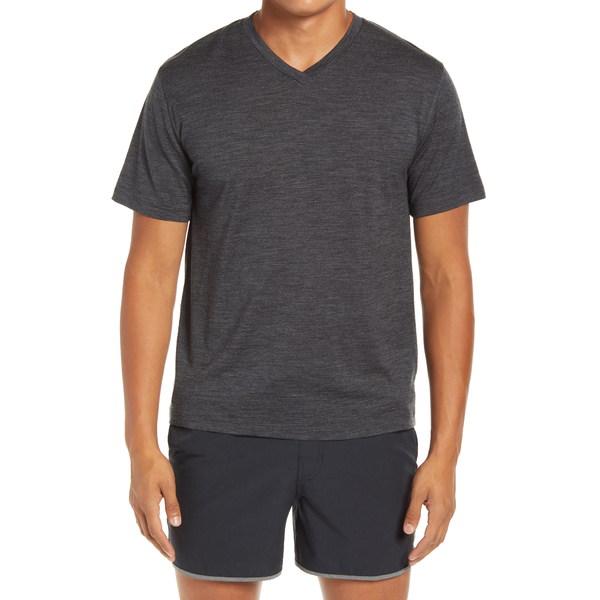 アイスブレーカー メンズ シャツ トップス Ravyn V-Neck Wool Blend T-Shirt Jet Heather
