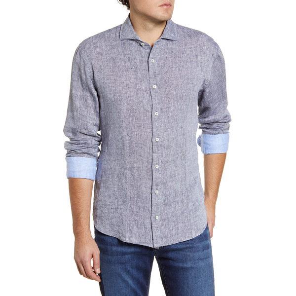ブガッチ メンズ シャツ トップス Shaped Fit Button-Up Linen Shirt Caviar