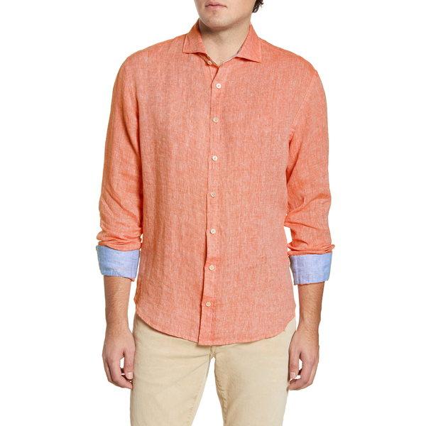 ブガッチ メンズ シャツ トップス Shaped Fit Button-Up Linen Shirt Tangerine