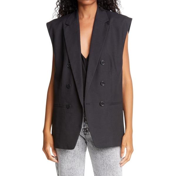 フレーム レディース ジャケット&ブルゾン アウター Oversized Double Breasted Linen Blend Vest Noir