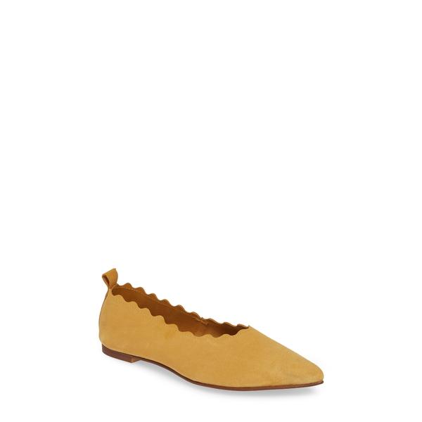 クラブニコ レディース サンダル シューズ Naomi Scallop Pointy Toe Flat Yellow Suede