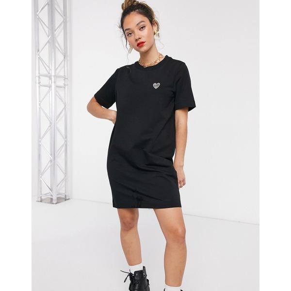 【500円引きクーポン】 ラブ モスキーノ レディース ワンピース トップス Love Moschino simple logo t-shirt dress in black Black, 激安靴スニーカーブーツSweetSent d6514416