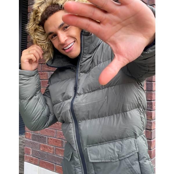 【最安値に挑戦】 フレンチコネクション メンズ コート アウター French Connection padded hooded faux fur parka in khaki Khaki, セミプロDIY店ファースト 5d59b3ee
