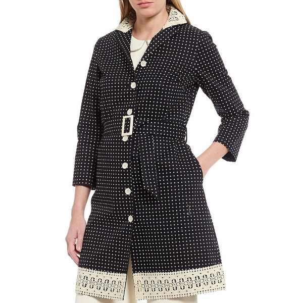 ジュリーブラウン レディース ジャケット&ブルゾン アウター Avalon Polka Dot Notch Lapel Lace Trim Detail Single Breasted Cotton Jacket Black Snowcap
