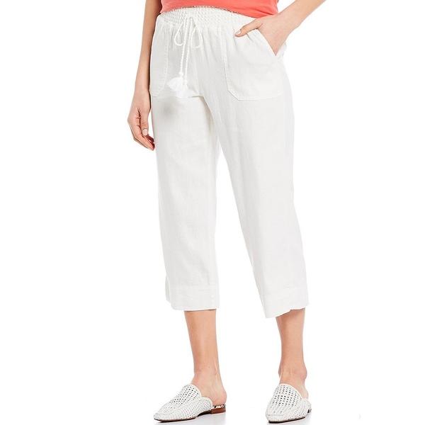 ウェストボンド レディース カジュアルパンツ ボトムス Wide Leg Linen Capri Pant White