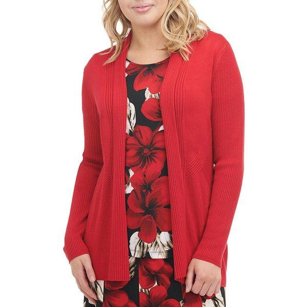 アリソンダーレイ レディース ニット&セーター アウター Petite Size Ribbed Knit Open Front Cardigan Red
