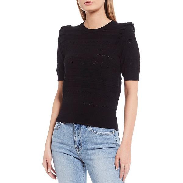 エラモス レディース ニット&セーター アウター Emila Ruffle Short Sleeve Round Neck Novelty Knit Top Black
