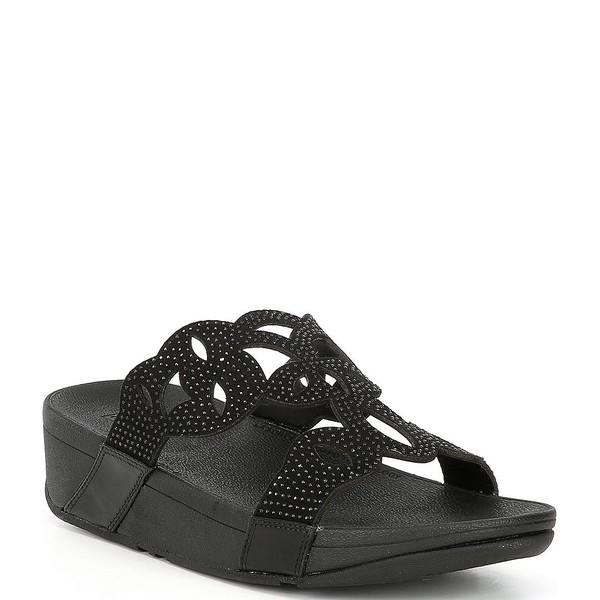 フィットフロップ レディース サンダル シューズ Elora Jewel Embellished Wedge Slides Black