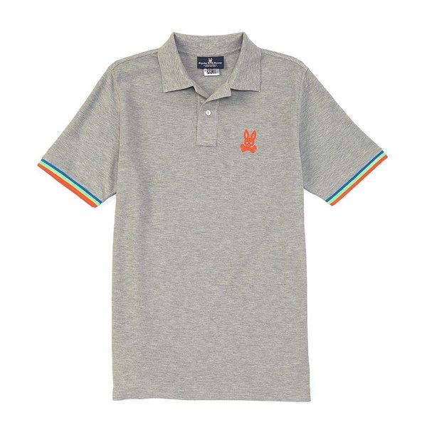 サイコバニー メンズ ポロシャツ トップス Cunard Short-Sleeve Polo Shirt Heather Grey