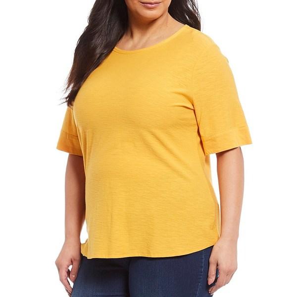 ウェストボンド レディース Tシャツ トップス Plus Size Short Sleeve Crew Neck Tee Artisan Gold