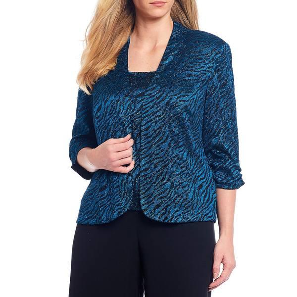 アレックスイブニングス レディース ワンピース トップス Plus Size Zebra Glitter Lace Twinset Black/Peacock