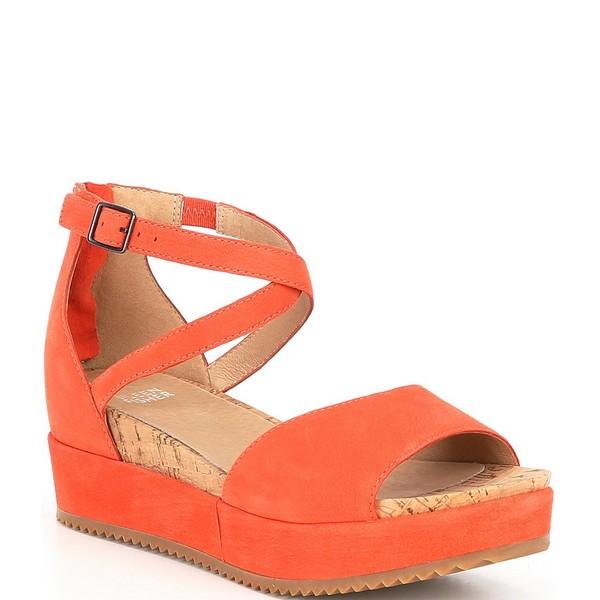 エイリーンフィッシャー レディース サンダル シューズ Emmy Suede Leather Flatform Sandals Tangelo Tumbled Nubuck