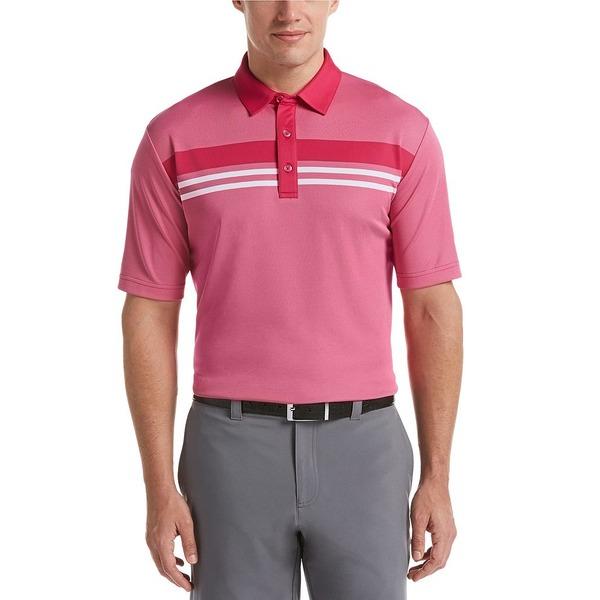 キャラウェイ メンズ シャツ トップス Short-Sleeve Yarn Dyed Birdseye Color Block Short Sleeve Golf Polo Shirt Boudoir Red