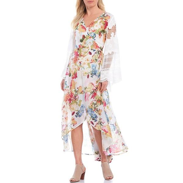 アラッタ レディース ワンピース トップス The White Queen Floral V-Neck Crochet Bell Sleeve Hi-Low Hem Midi Wrap Dress White Floral