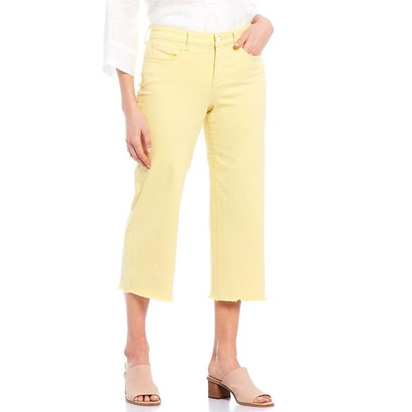 エヌワイディージェイ レディース デニムパンツ ボトムス Stretch Denim Wide-Leg Frayed Hem Capri Jeans Sunshine