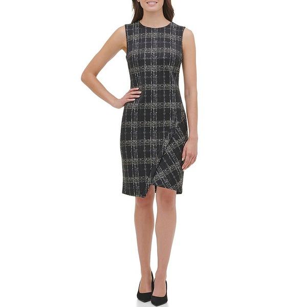 トミー ヒルフィガー レディース ワンピース トップス Scuba Foil Asymmetric Hem Sheath Dress Black/Multi
