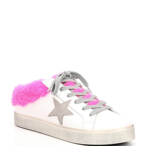 スティーブ マデン レディース スニーカー シューズ Polaris Leather Faux Fur Lined Star Sneakers White/Pink
