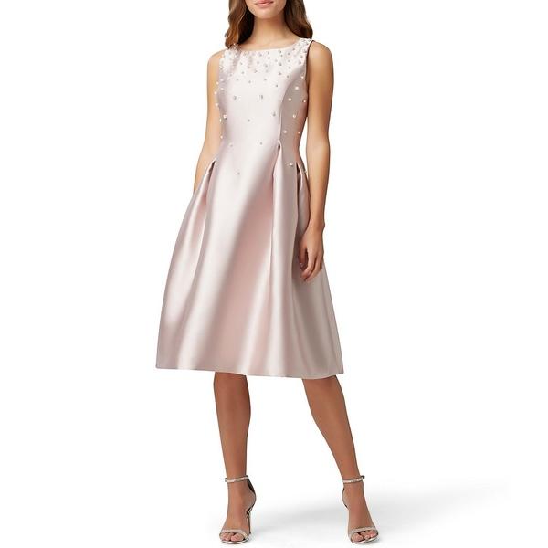 タハリエーエスエル レディース ワンピース トップス Embellished Pearl Tea Length Sleeveless Fit & Flare Dress Rose Quartz
