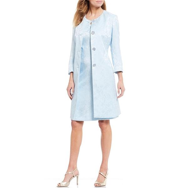 ジョン・メイヤー レディース ワンピース トップス Jewel Neck Jacquard Coat 2-Piece Dress Suit Blue