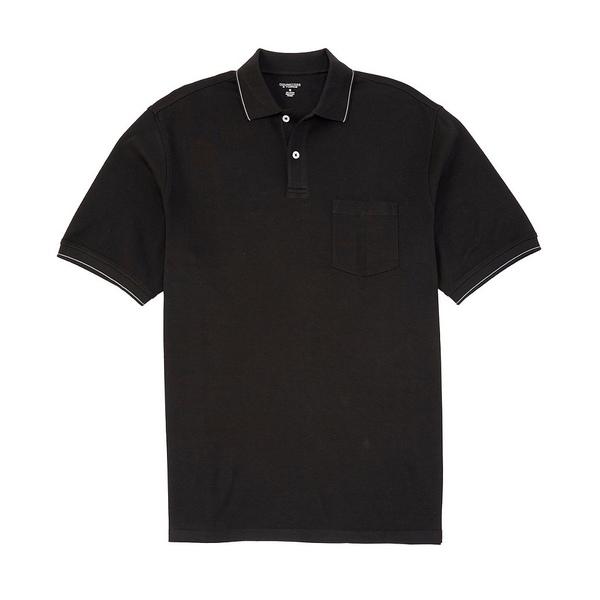 ランドツリーアンドヨーク メンズ ポロシャツ トップス Short-Sleeve Solid Pocket Polo Black