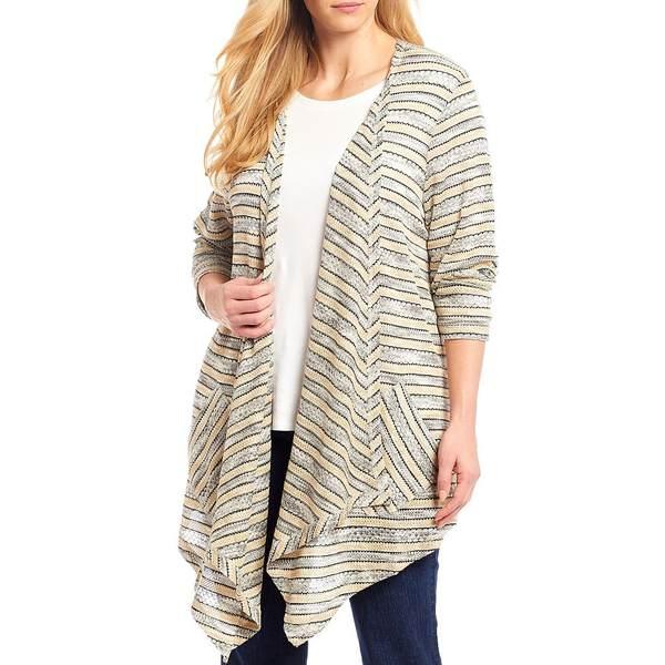 ルビーロード レディース ニット&セーター アウター Plus Size Tuck Stitch Marled Stripe Open-Front Cardigan Biscuit Multi