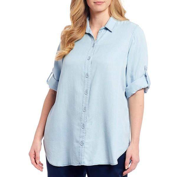 イントロ レディース シャツ トップス Plus Size 3/4 Roll-Tab Sleeve Button Front Indigo Lyocell Shirt Light Bleach